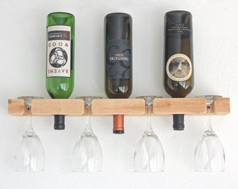 Wine Rack-Wall Mounted Wood Wine Rack Holds 3 Bottles & 4 Wine Glasses - Unfinished