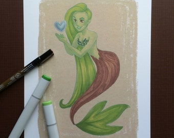 "Tree Mermaid. 8""x10"" Print"
