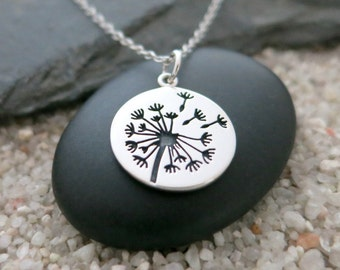 Dandelion Necklace, Sterling Silver Dandelion Charm, Nature Jewelry
