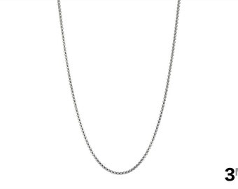 Thin Necklace, 3mm Box Chain Necklace, Rolo Chain, Square Chain Necklace, 316l Stainless Steel, Men's Necklace, 18in - 40in, FREE Shipping!