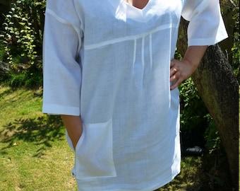Pure linen tunic in white