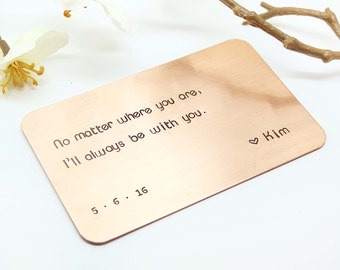 Copper Wallet Insert Card - Customized personal messages - Husband, Boyfriend Gift, Christmas Gift, 7 Year- Bride to Groom Gift- Mens Gift
