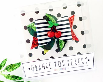 Striped Cherry Bow - Summer Cherries bow, black and white striped bow, cherries bow, cherries hair clip, cherries headband 3 WEEK TURNAROUND