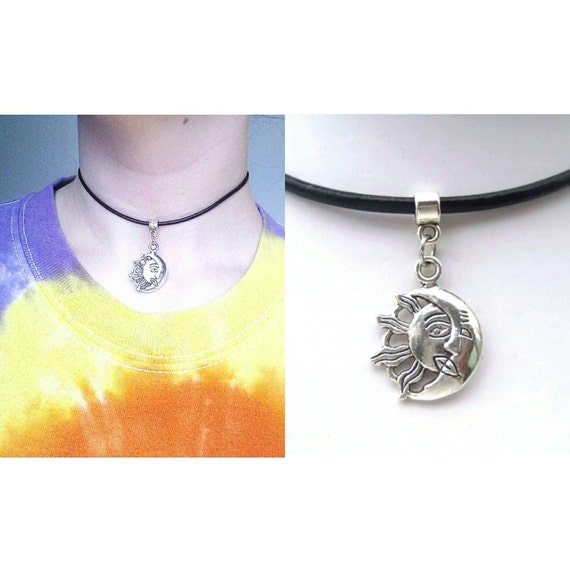 Sun And Moon Choker Necklace Adustable 90's GRUNGE Style