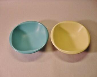 BOONTON Cereal BOWLS Blue Yellow Pastel Melmac Melamine Ware 1950's USA Boontonware