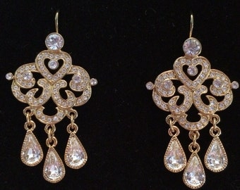 Joan Rivers Rhinestone Chandelier Earrings