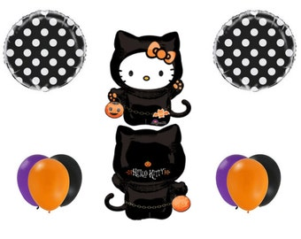 HALLOWEEN HELLO KITTY Party Balloons Decoration Supplies Trick Or Treat Cat Birthday