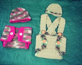 CROCHET Hat&Diaper Cover Set- ON SALE