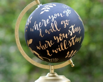 Custom Hand-Painted and Hand-Lettered Globe