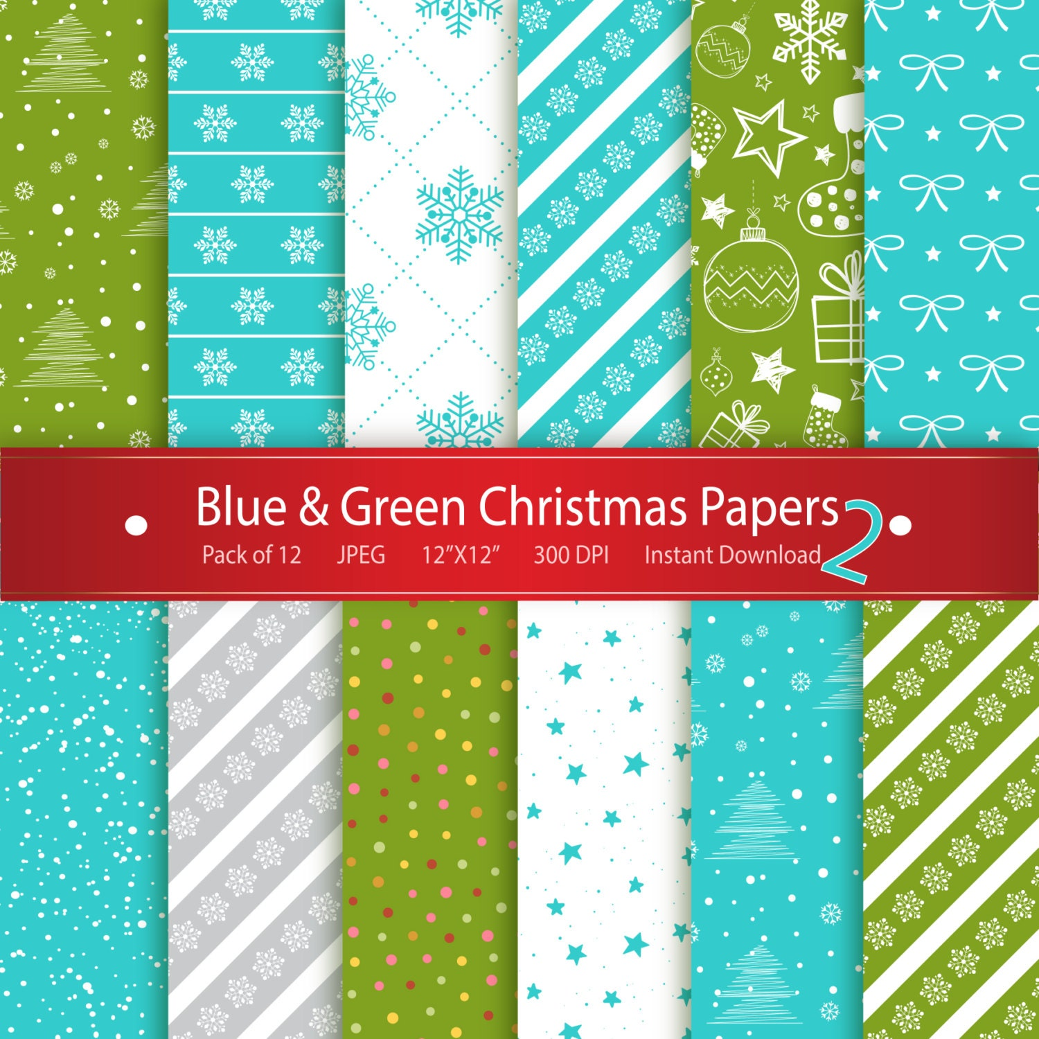 Scrapbook ideas video download - Christmas Digital Paper Blue Green Christmas Papers 2 Instant Download Printable Scrapbooking Collection Stars Snowflakes Xmas Tree