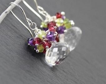 Multi Gemstone & Sterling Silver Cluster Earrings. Rock Crystal, Amethyst, Rhodolite Garnet Beaded Drop Earrings. Multi Color Bead Earrings