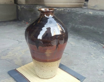 Handmade Japanese-Style Bottle / Vase, Reduction-Fired Rusty-Red with Speckled White