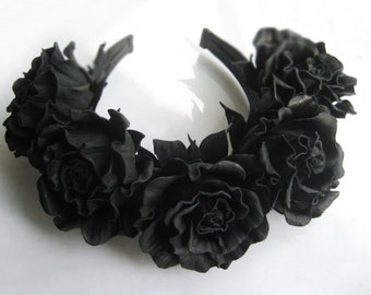 Leather decoration in her hair for women black roses,flower headpiece,Flower leather,leather accessories,hair accessories.Make to order
