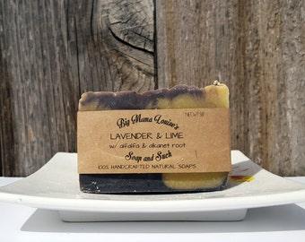 Lavender Soap, Lime Soap, Cold Process Soap, Shea Butter Soap, Handmade Organic Soap, All Natural Soap