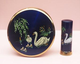 Powder Compact Set, Powder Compact, Melissa Powder Compact, Swan Compact, Lipstick Case, Lipstick Holder, Melissa Set, Birds - 1950s / 1960s