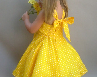 Yellow girls dress, Polka dot dress, Toddler twirl dress, Girls party dress, Little girl sun dress, One year photo dress, Yellow baby dress
