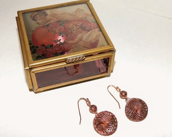 Vtg Via Vermont Keepsake Box, Glass and Brass Jewelry Box, Angel Cupid Heart & Roses Hinged Trinket Box, Free Earrings with the purchase!