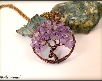 Amethyst Tree of Life Wire Wrapped Tree of Life Pendant, Handmade Jewelry, Copper Wire Tree Jewelry, Wire Weaved Jewelry, Amethyst Gemstones