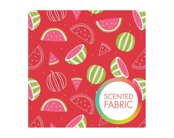Watermelon scented fabric with watermelon print by Camolot designs studio, watermellon print fabric, scented fabric by the yard, quilting