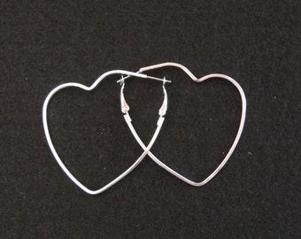 Silver 2x2 Inch Heart Hoop Earrings