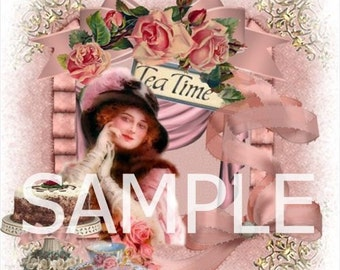 Fabric Art Quilt Block - Tea Time Collage -  14-0300 - FREE Shipping