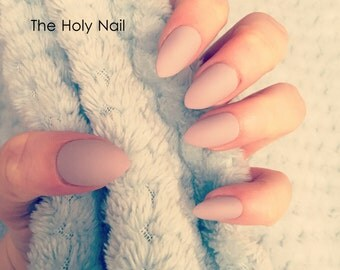 FALSE NAILS - Matte Almond - Stick On - The Holy Nail UK