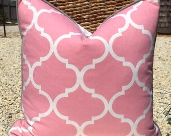 Pink and White Lumbar Cotton Pillow Cover with Contrast Grey Pipping. Geometric Cotton Pillow. Mediterranean Cotton Pillow Cover in Pink.