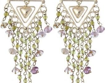 Peridot & Amethyst Sterling Silver Chandelier Earrings