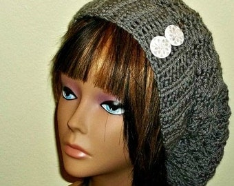 On Sale- Slouchy Crochet Hat Rasta Heather Gray With White Buttons Womens Tam Beret Boho Chunky Beanie