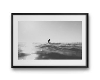 Afternoon Silhouette ~ Surf Photography, Surfing, Surfer, Ocean, Water, Sunset, Summer, Beach, Wall Art, Living Room, Bedroom, Monochrome