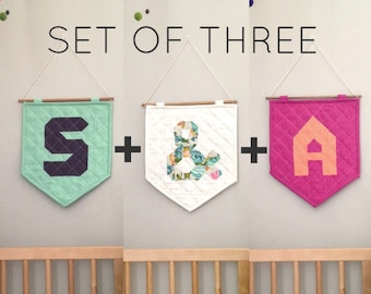 SET OF THREE - The Quilted Wall Hanging - Personalize Your Letter or Symbol