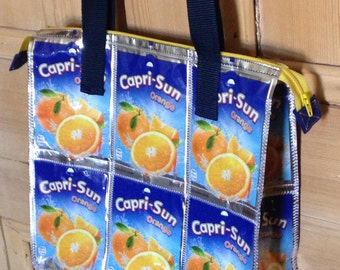 Capri Sun handbag, Zip recycled bag, Beautiful practical tote, Upcycled shoulder bag, Rain proof ladies purse, Handmade in UK, Womens gifts