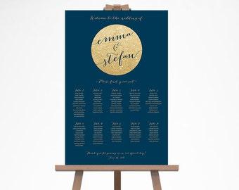 Wedding Seating Chart, Navy Gold Wedding Seating Sign, Printable Wedding Seating Plan, Wedding Seating Chart Template