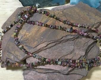 Tourmaline necklace, Multi colored tourmaline, gemstone necklaces, boho necklace, women's necklace, hippie necklace