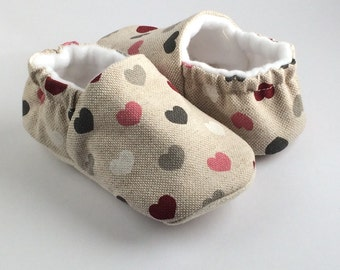 You have my heart. linen soft sole, pre walker baby shoes