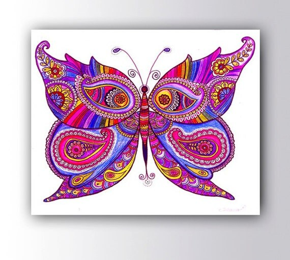 Pink Purple Butterfly Drawing Large Giclee PRINT Pink Purple