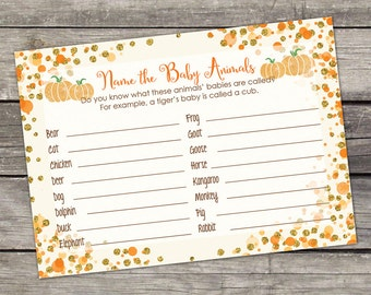 Little Pumpkin Baby Shower Game - Name the Baby Animals - Pumpkin Baby Shower Games - Little Pumpkin Baby-248