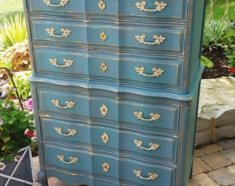 Painted 6 Drawer Tall Boy French Provincial Dresser Annie Sloan Chalk Paint Teal Gold Whitewashed