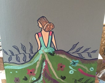 Unframed 8x10 acrylic painting of girl in pretty dress
