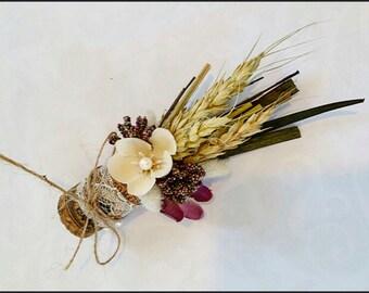 Wild Flower Wheat, Wine Cork Boutonniere