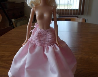"""Crochet Fashion Doll Barbie -7"""" PINK SATIN SLIP-Doll not included"""