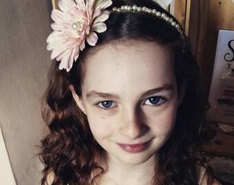 Flower headband.  Flowergirl headband.  Blush pink headband.  Bridesmaid headband.  Flowergirl tiara.  Girls fascinator.  Pink fascinator.