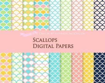 Scallops / Pink, Yellow, Caribbean Blue, Flora Green, Navy Digital Paper Pack - Instant  Download - DP097