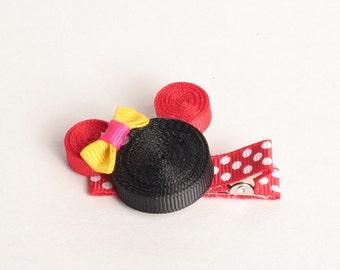 Girls Micky Mouse Minnie hair Bow hair clip, hand made, Girls Hair Bows, Baby Bows, Toddler Hair Bows, Hair bow, Hair Clips