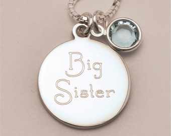 Small Custom Engraved Big Sister Charm Necklace INCLUDING Birthstone, Baby Shower Gift, Personalized Necklace, Personalized Jewelry