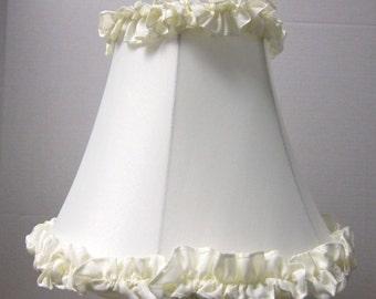 Cream Shantung Silk Table Lamp Shade with Ruffles Top and Bottom Off White Ruffle Lamp Shade, Girls Lamp Shade
