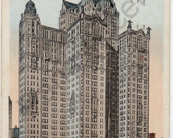 Vintage Postcard of City Investment building, New York, 1919, Circulated