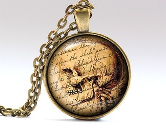 Skull necklace Gothic charm Antique jewelry RO57