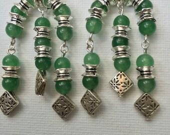 Green Aventurine Arch Earrings