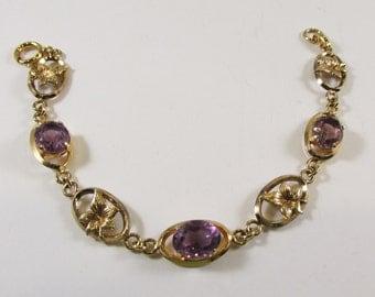 Vintage - Gold Filled Amethyst Bracelet - Marked - Rhinestones - 1940s - Classy